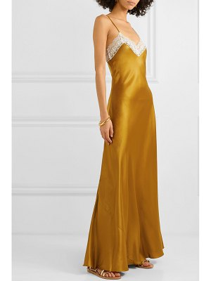 Miguelina jacquelyn lace-trimmed silk-charmeuse maxi dress