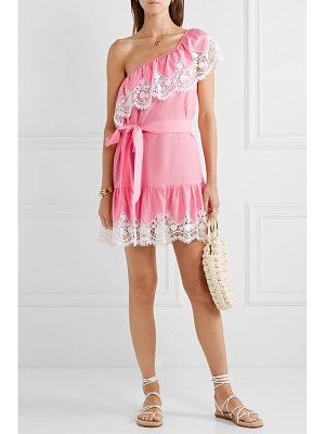 Miguelina summer one-shoulder crochet-trimmed linen mini dress