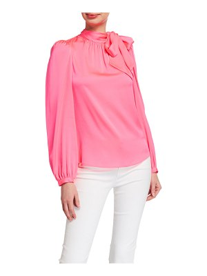 Milly Ashlyn Tie-Neck Stretch Silk Top
