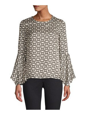 Milly holly chain print bell sleeve chiffon top