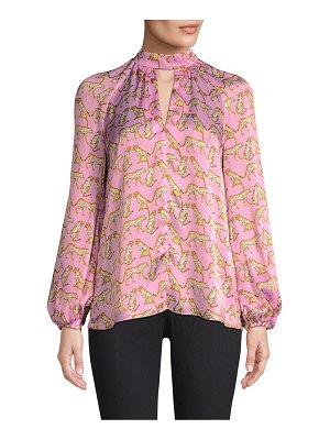 Milly silk cheetah-print mockneck blouse
