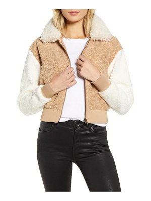 Minkpink mixed fleece bomber jacket