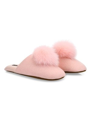 Minnie Rose cashmere & fox fur pom-pom slippers