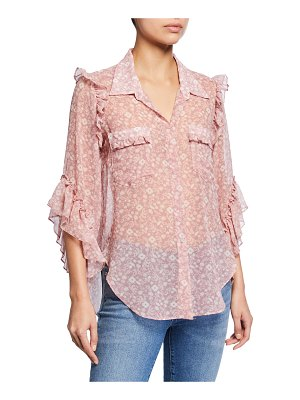 MISA Aeryn Floral Chiffon Button-Front Ruffle Top