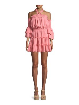 MISA Elisa Cold-Shoulder Ruffle Mini Dress