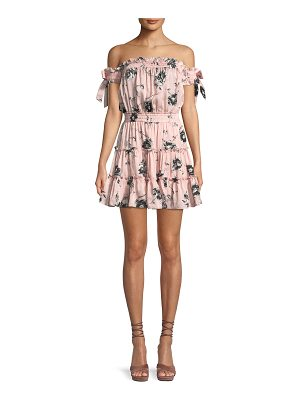 MISA Laiyin Floral-Print Off-the-Shoulder Ruffle Dress