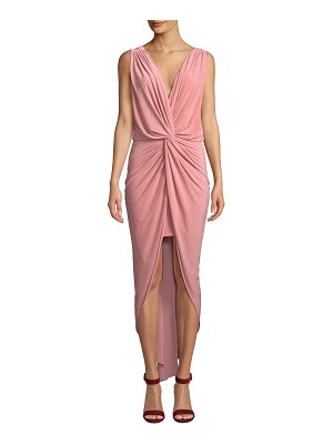 MISA Leza Gathered Crossover Sleeveless Tulip Maxi Dress