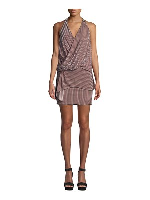 MISA Valere Striped Velvet Draped-Front Halter Dress