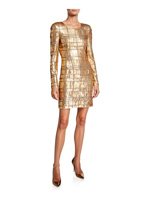 MISHA COLLECTION Ava Geometric Sequin Long-Sleeve Sheath Dress