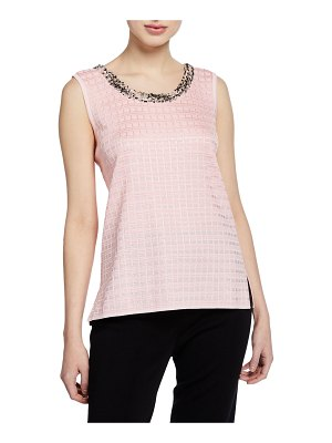 Misook Sugar Scoop-Neck Tank with Tweed Trim