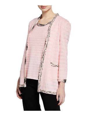 Misook Textured Jacket with Tweed Trim
