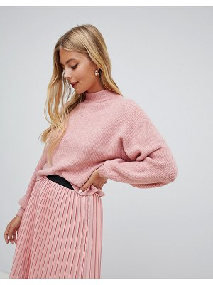 Miss Selfridge balloon sleeve sweater in pink