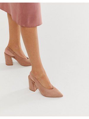 Miss Selfridge block heel shoes with sling back in nude
