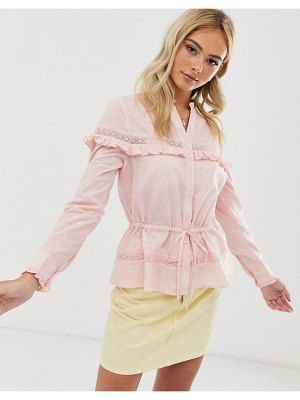 Miss Selfridge blouse with button through in pink