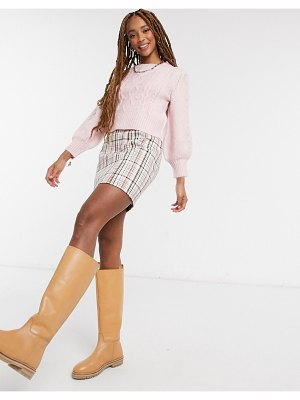 Miss Selfridge bobble cable knit sweater in pink