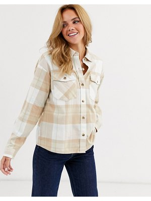 Miss Selfridge boxy shirt in cream check