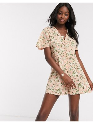 Miss Selfridge button front romper in pink floral