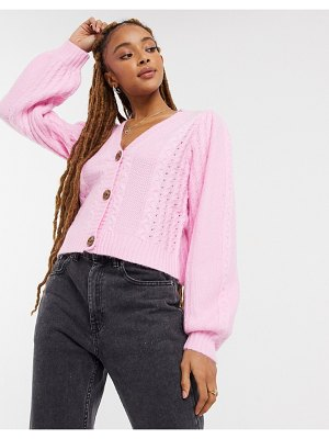 Miss Selfridge cable cardigan in pink