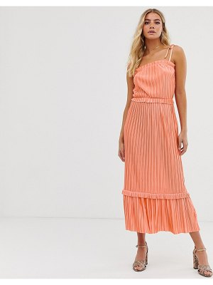 Miss Selfridge cami midi dress with frill hem in coral