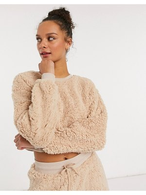 Miss Selfridge coordinating cropped teddy sweatshirt in camel-tan