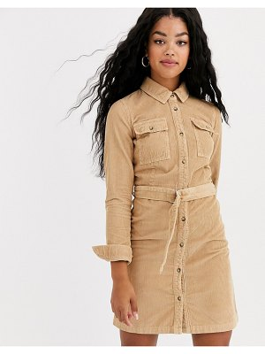 Miss Selfridge cord shirt dress in camel-beige