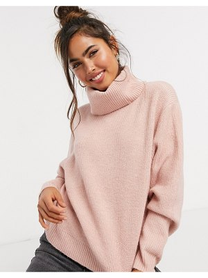 Miss Selfridge cowl neck sweater in pale pink