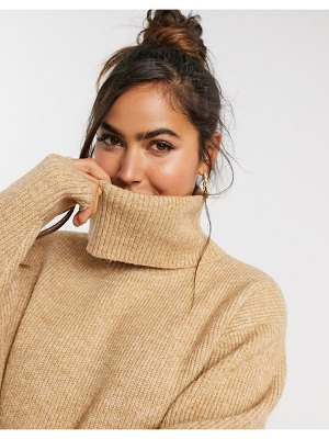 Miss Selfridge cowl neck sweater in tan