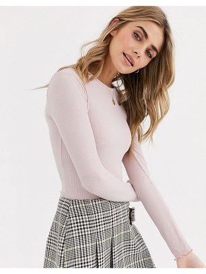 Miss Selfridge crop top with lettuce edge in pink