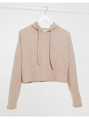 Miss Selfridge cropped hoodie in caramel-tan