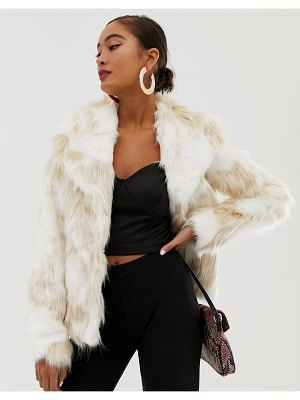 Miss Selfridge faux fur jacket in cream