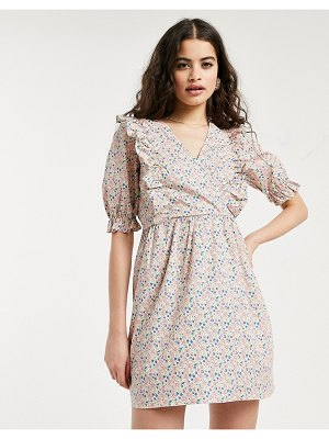 Miss Selfridge fit and flare poplin dress with frill detail in pink ditsy floral