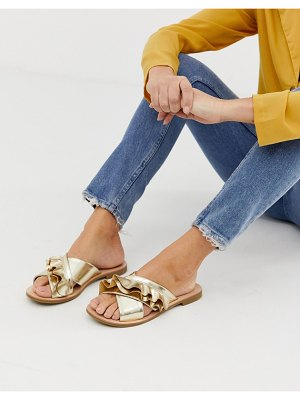 Miss Selfridge flat sandals with frill detail in gold