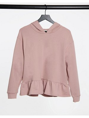 Miss Selfridge frill hem hoodie in pale pink