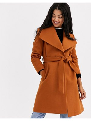 Miss Selfridge funnel neck tailored coat in tan