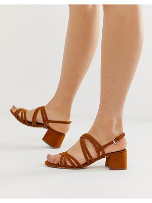 Miss Selfridge heeled sandals with multi straps in tan
