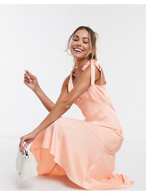 Miss Selfridge jacquard spot dress in coral-pink