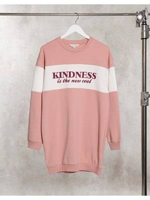 Miss Selfridge 'kindness is the new cool' sweatshirt dress in pink