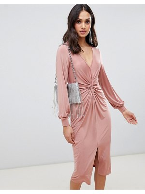 Miss Selfridge knot front midi dress in blush