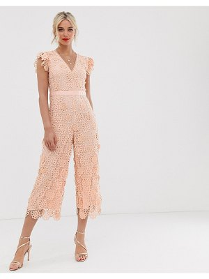 Miss Selfridge lace jumpsuit in pink