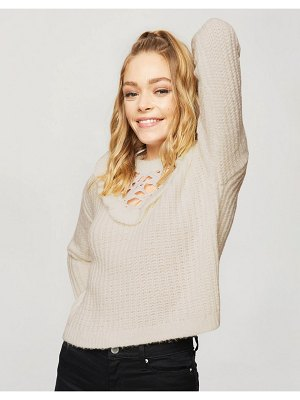 Miss Selfridge lace sweater with lace detail in cream