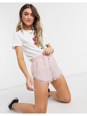 Miss Selfridge lace trim shorts in blush-pink