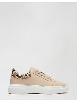 Miss Selfridge lace up sneakers in pink