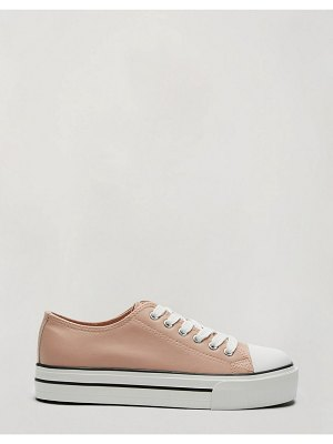 Miss Selfridge lace-up sneakers in pink