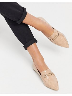 Miss Selfridge loafers with pointed toe in light pink