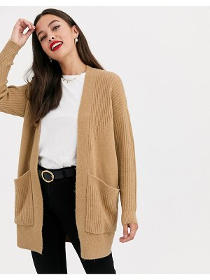 Miss Selfridge longline cardigan in camel
