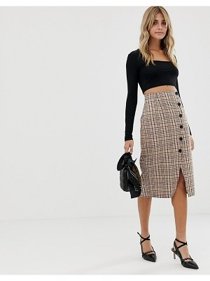 Miss Selfridge midi skirt with popper detail in check