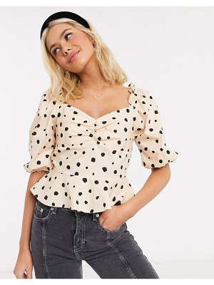 Miss Selfridge milkmaid blouse in taupe polka dot-beige