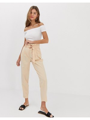 Miss Selfridge paperbag pants in nude