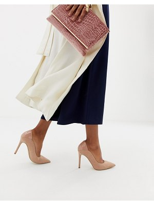 Miss Selfridge patent back pumps in beige