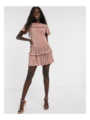 Miss Selfridge plisse mini dress with frills in pink